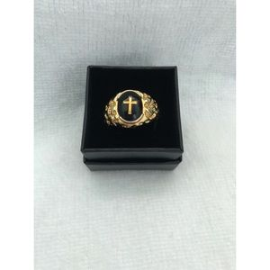 Other - Men's Gold Plated Stainless Cross Ring
